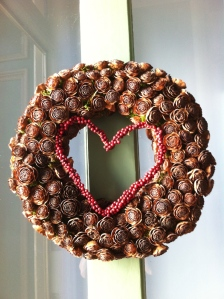 Natural wreath for Valentine's Day.